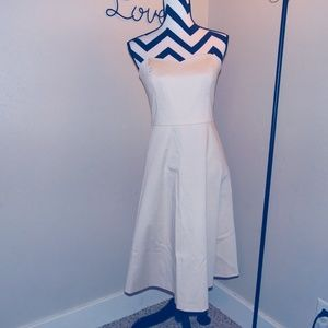 White House Black Market Cream Strapless Dress